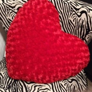 Large Fluffy soft red heart pillow